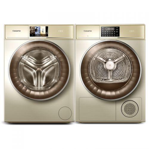 卡萨帝(Casarte)纤诺系列 12KG洗衣机 C1 D12G3LU1 + 9KG干衣机 CB N9G2U1(香槟金)