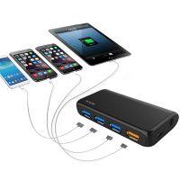 飚王(SSK)SHU801一拖四口可充电扩展USB集线器 (黑色)