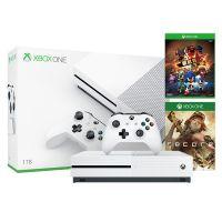 微软(Microsoft)Xbox One S 1TB 游戏机 家庭套装(白色)234-00843