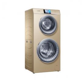 卡萨帝(Casarte)12公斤 双子云裳双筒洗 带烘干 滚筒 洗衣机C8 HU12G1(香槟金)