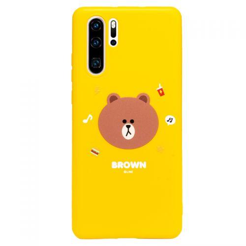韩国Line Friends布朗熊卡通可爱 防摔华为 P30 Pro手机保护套(黄色)