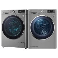 LG 10.5KG 蒸汽洗滚筒洗衣机 FG10TV4+ 9KG 进口热泵式干衣机 RC90U2EV2W 套装(碳晶银)