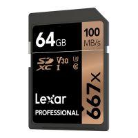 雷克沙(Lexar)64G SD存储卡U3 V30 4K微单反相机高速存储卡 667X(黑色)
