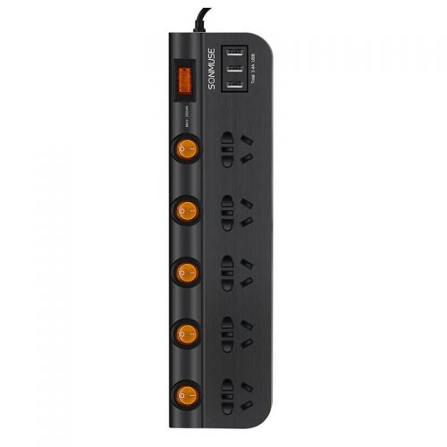 **声缪斯(SONMUSE)2.5米 防过载五位总控+分控电源转换器 SF-BO5NBU3-2.5(黑色)