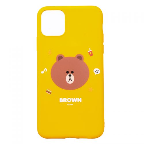 产地韩国 Line Friends 布朗熊手机壳适用于 iPhone 11 Pro(黄色)