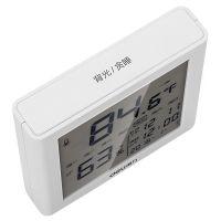 得力(deli)带时间闹钟多功能电子温湿度计8958(白色)