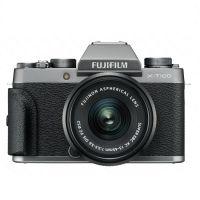 产地印度尼西亚 进口富士(FUJIFILM)三向翻折触摸屏微单相机X-T100 XC15-45(银灰色)