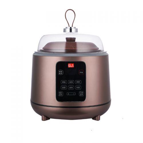 依立(yili)4.5L紫砂蒸汽饭煲电炖锅21411S(棕色)