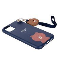 产地韩国 Line Friends 带挂绳布朗熊手机壳适用于iPhone 11(蓝色)
