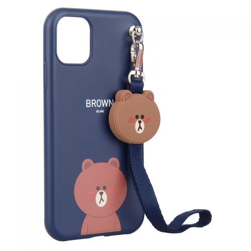 产地韩国 Line Friends带挂绳布朗熊手机壳 适用iPhone 11 Pro (蓝色)